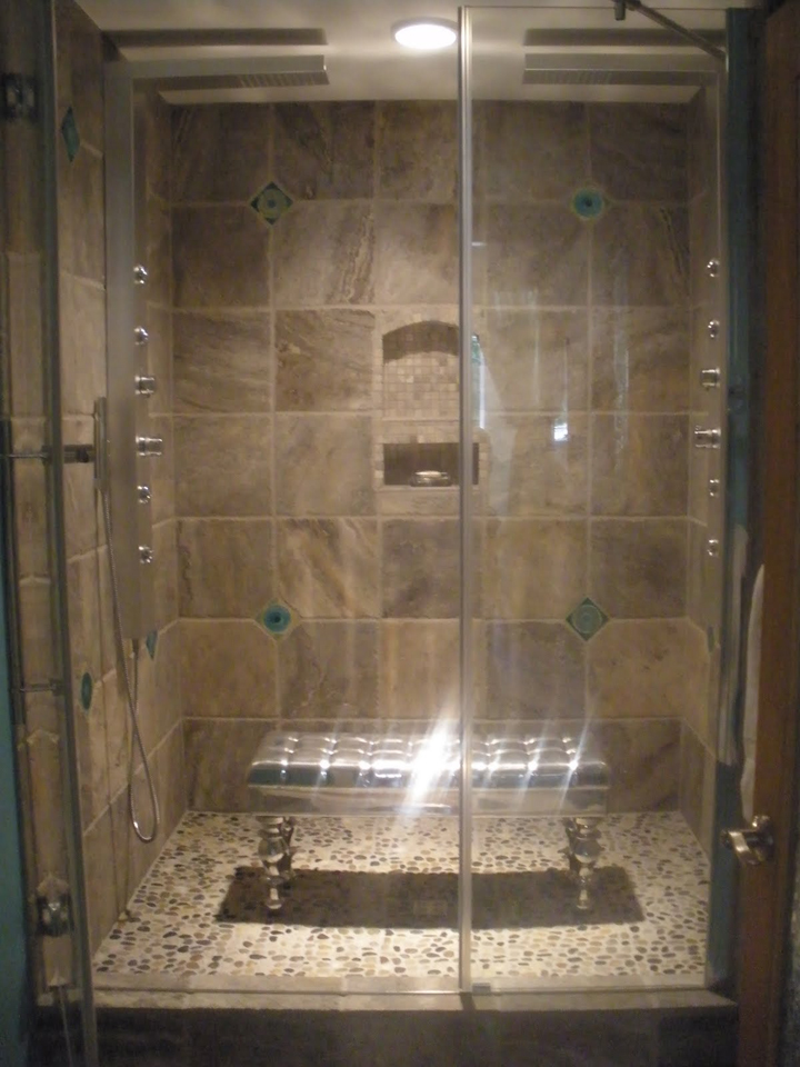 hand made modern accent tiles in travertine double shower