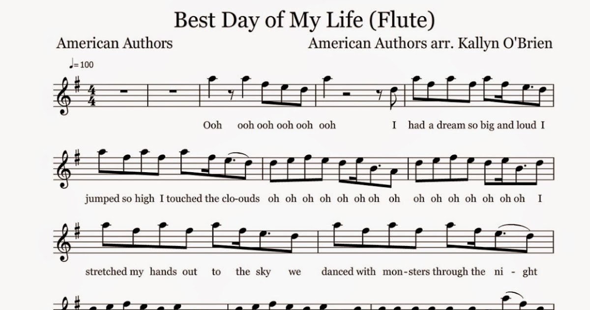 Flute Sheet Music Best Day Of My Life Sheet Music