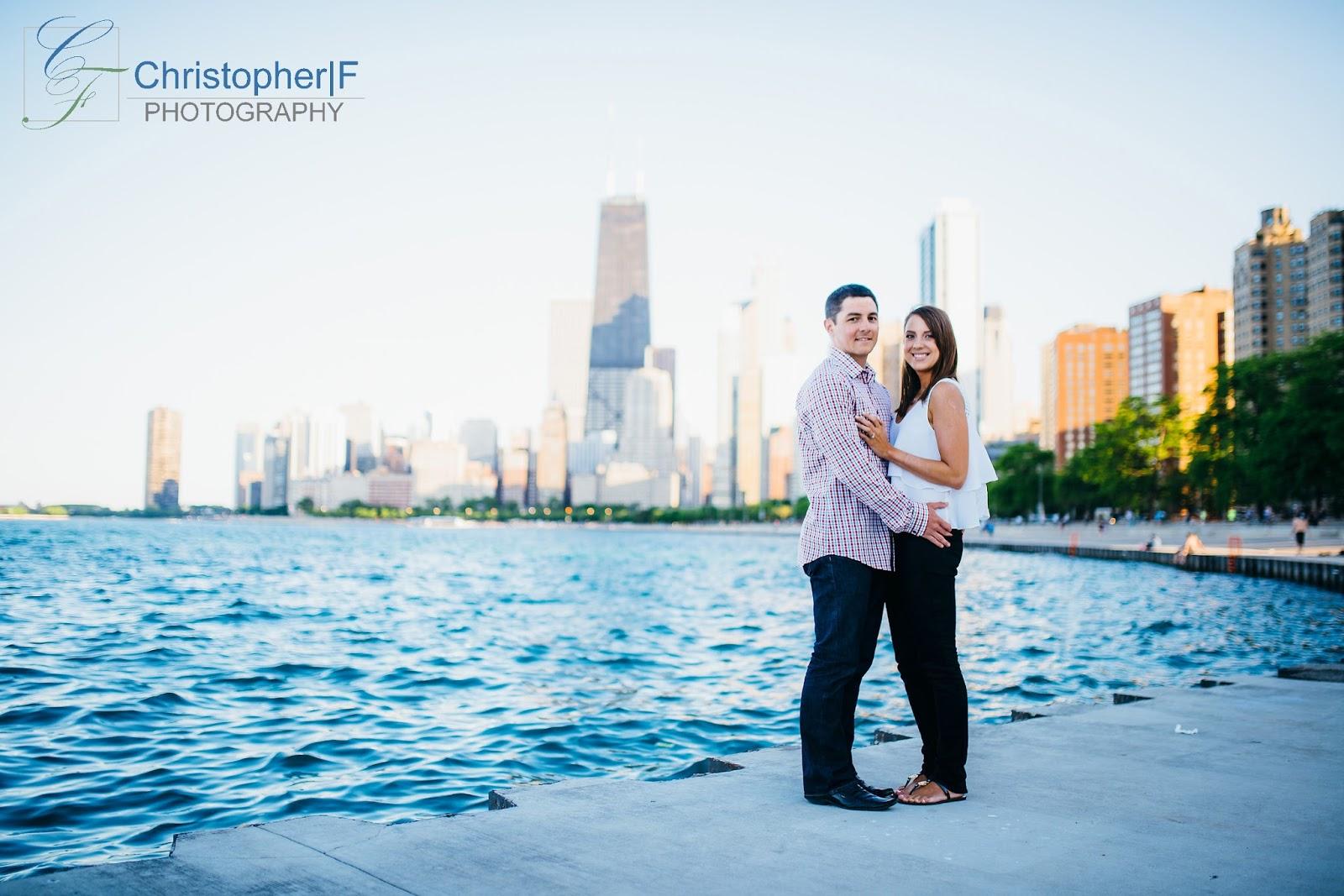 Chicago North Avenue Beach Engagement Photo