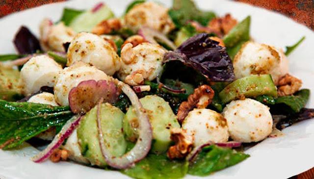 alimentación, ensalada, ensaladas, mozzarella, nueces, queso, receta, sana, verde,