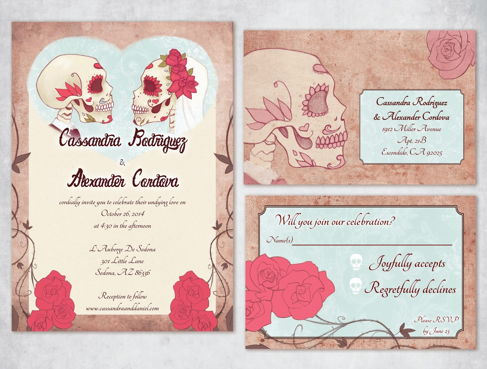 Muertos Formal Wedding Invitation Set
