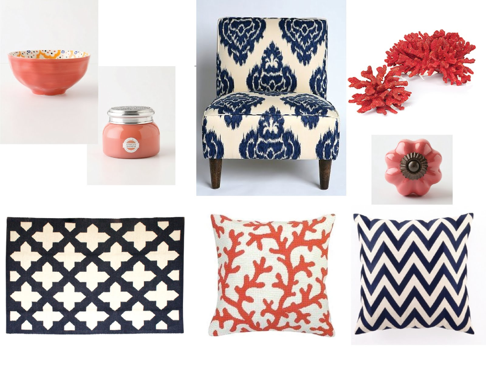 Coral Meets Navy Home Decor