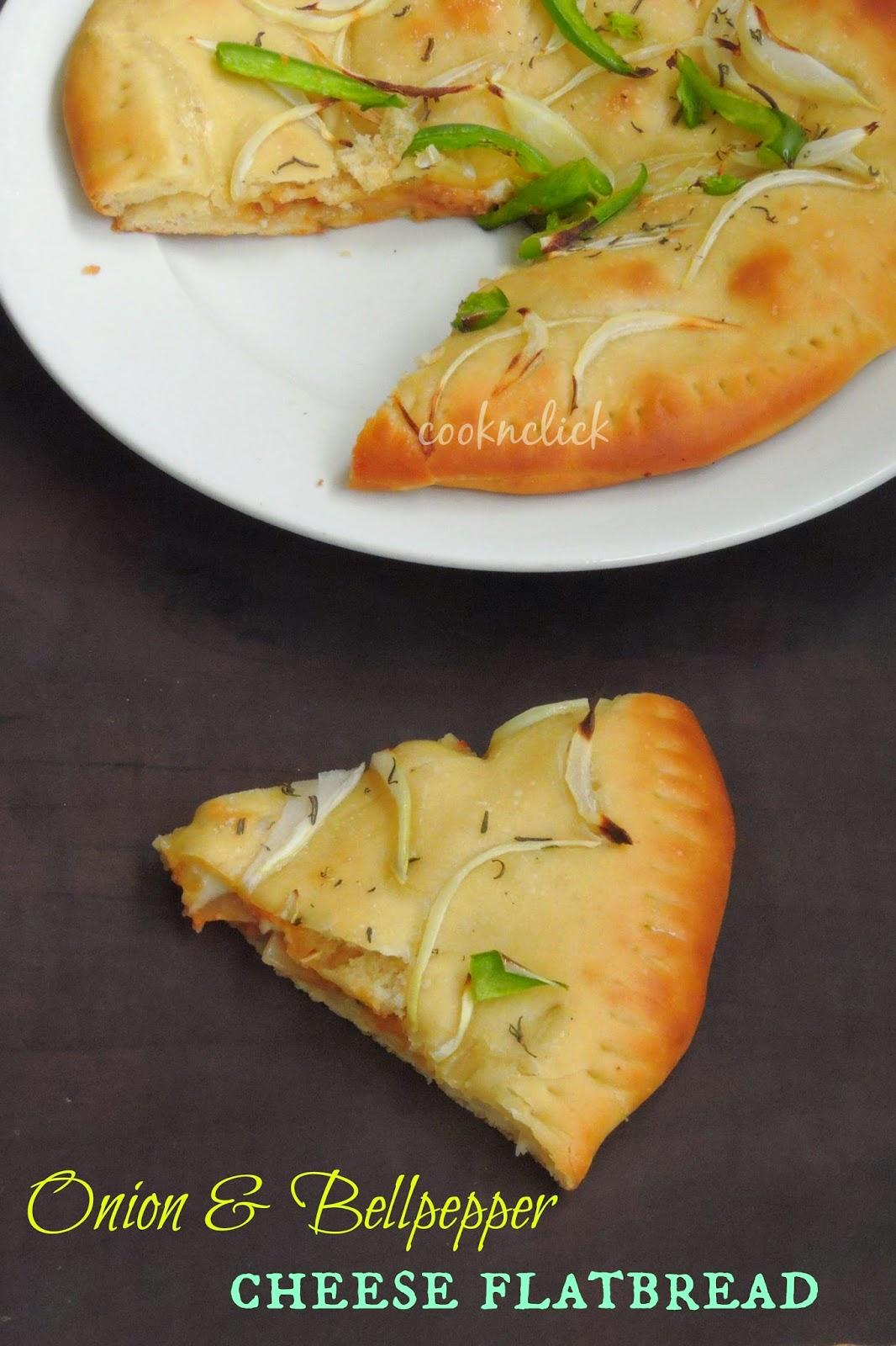 Onion & bellpepper cheese flatbread