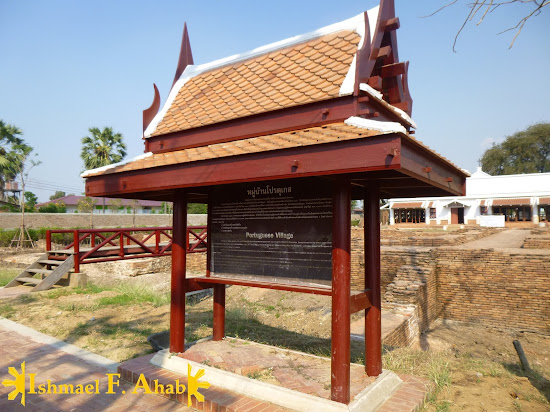 Marker of the Portuguese Village in Ayutthaya Historical Park