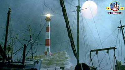 Sea mist fog covered the Island of Sodor shoreline shipping port of Brendam docks Salty's lighthouse