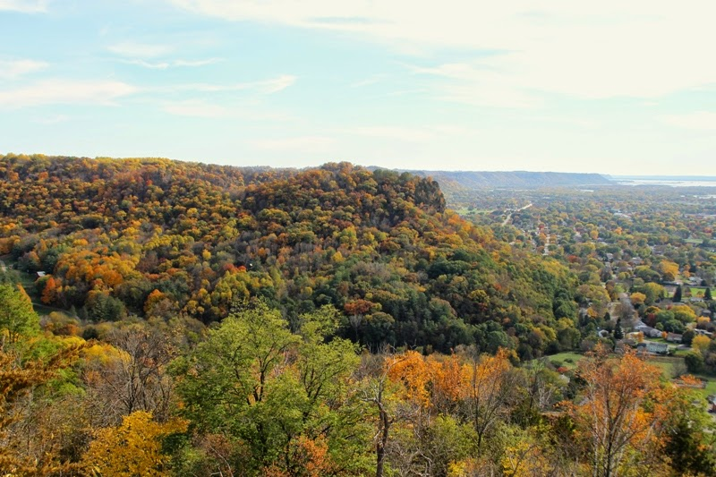 the view goes on for miles from Grandad Bluff Park, La Crosse, WI