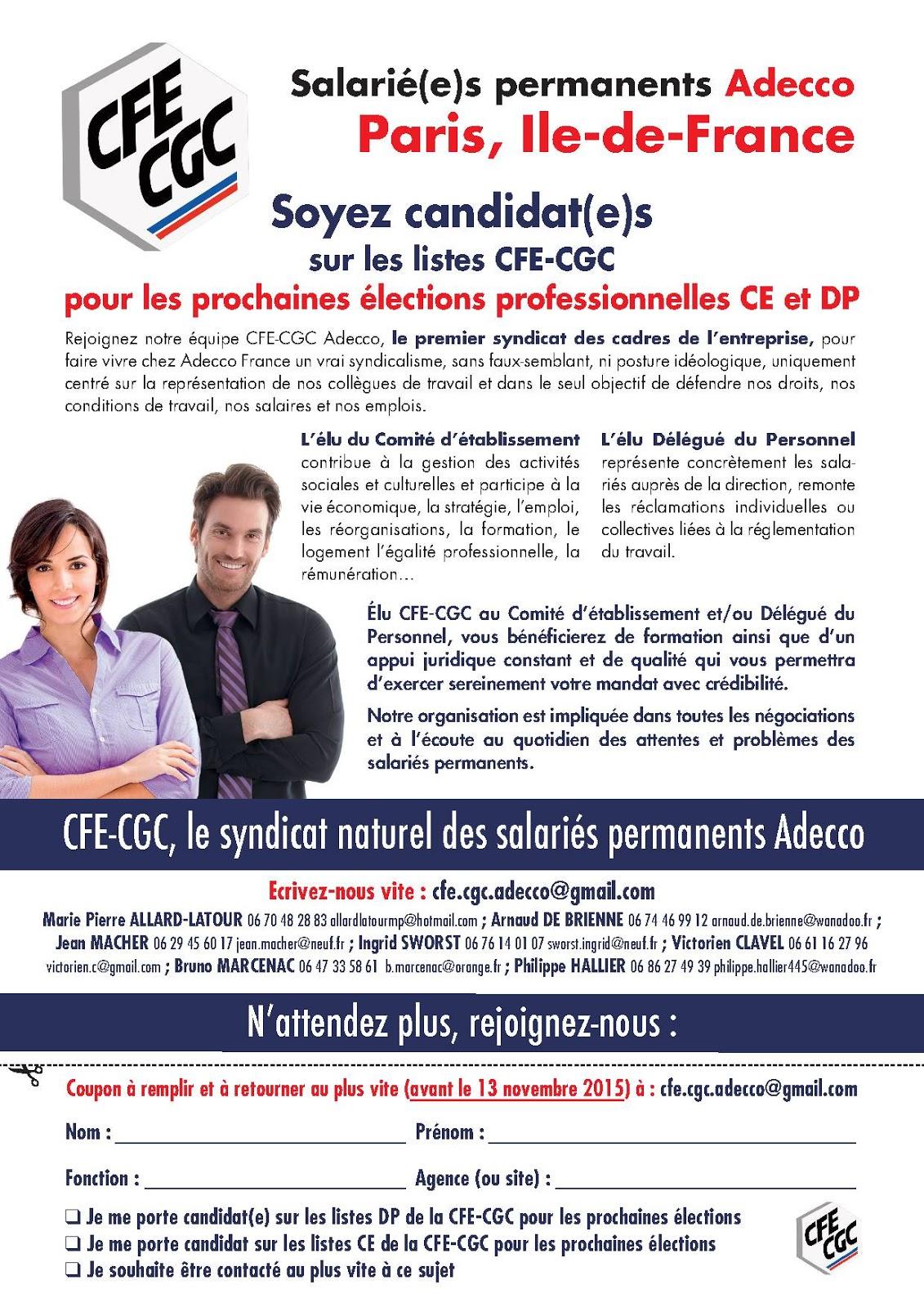 CFE-CGC Adecco: Salarié(e)s permanents Adecco, Paris, Ile ...