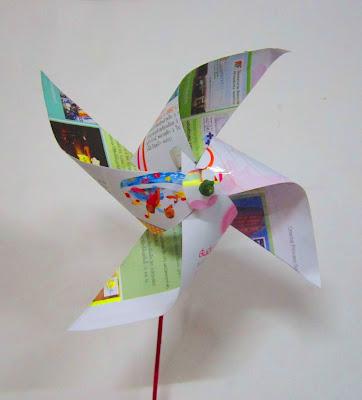 กังหันจากวัสดุใช้แล้วรอบตัว ของเล่นเด็กทำเอง ของใช้แล้ว ทำของเล่นจากวัสดุเหลือใช้ เศษกระดาษ
