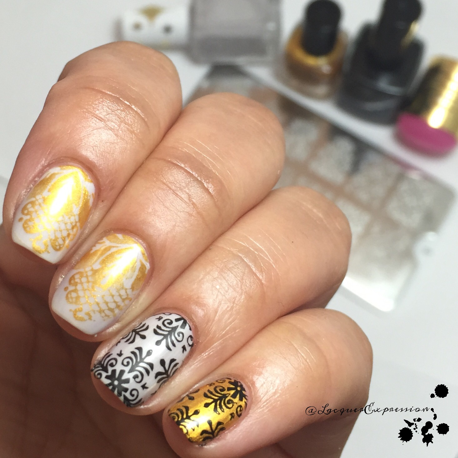 Step-by-step Nail Art Thursday - Stamped Damascus Nails ...