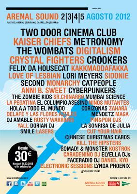 ArenalSound Arenal Sound burriana Two door cinema club playa castellon A Cartel fechas dias grupos artistas horarios festivales