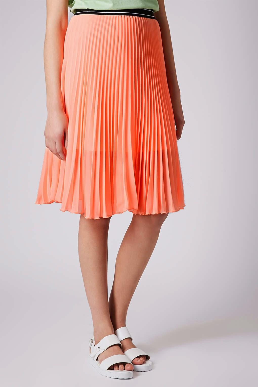 coral pleated midi skirt