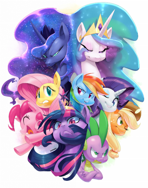 Epic image featured big crown thingy, Mane Seven, Princess Celestia and Princess Luna