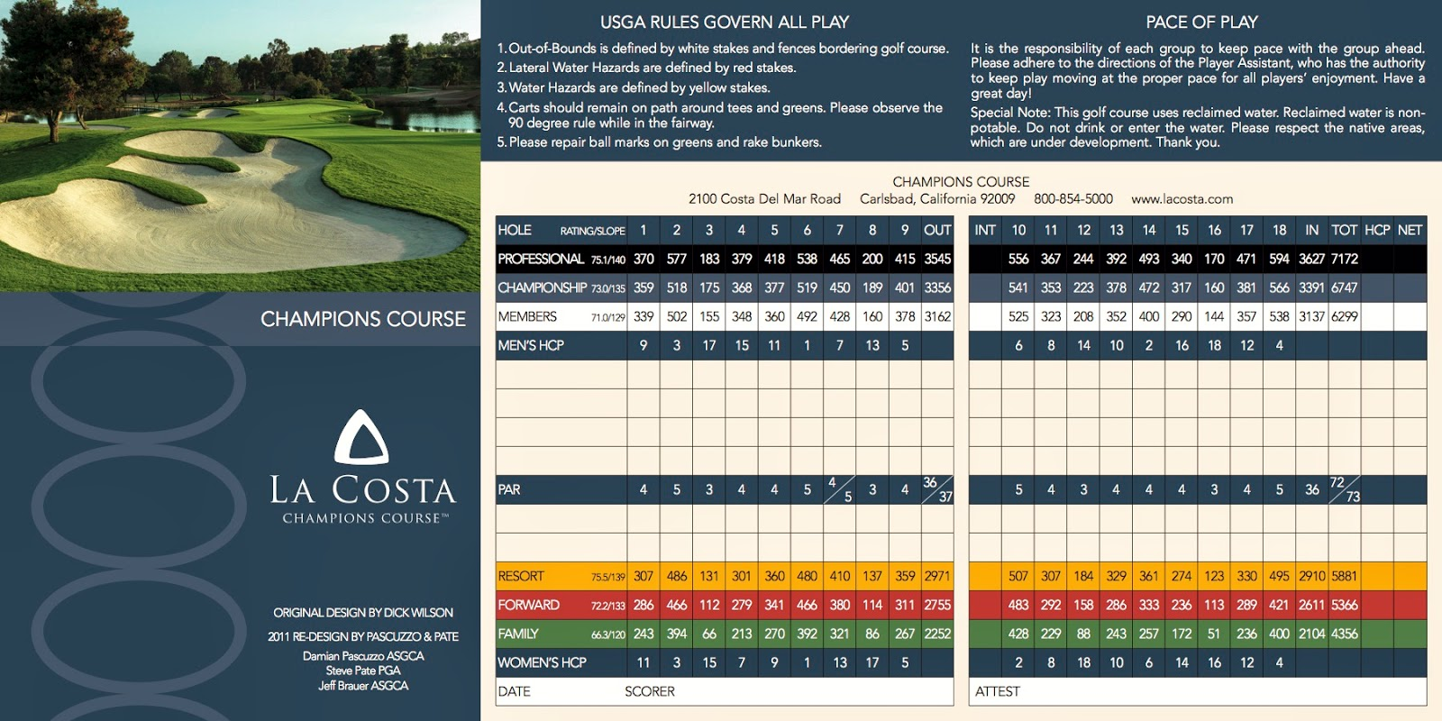 La Costa Champions Course Scorecard
