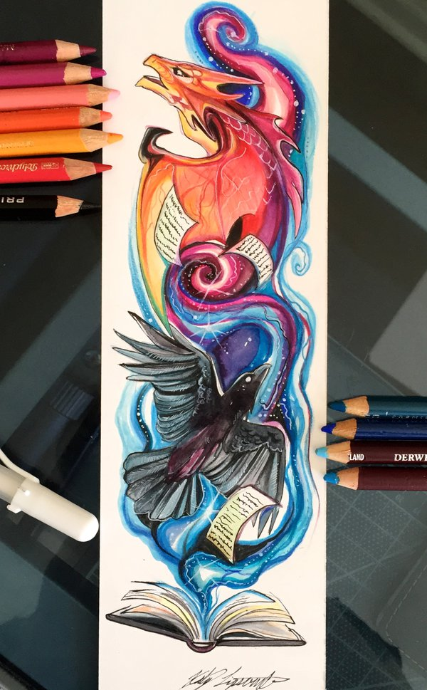 17-Magic-Bookmark-Katy-Lipscomb-Lucky978-Fantasy-Watercolor-Paintings-Colored-Pencils-Drawings-www-designstack-co