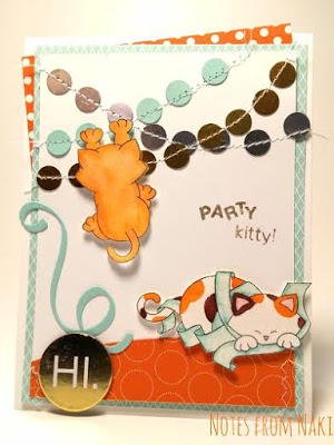 Kitty Birthday Card by Naki | Naughty Newton stamp set by Newton's Nook Designs