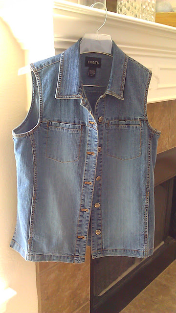 thrift store - chico's denim vest