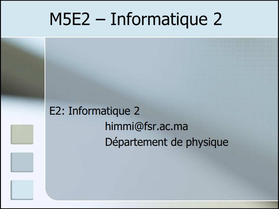 Cours Informatique SMPC
