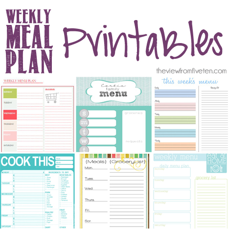 Weekly Menu Planning Printable #free #printable