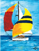 Sailboat: Painting by Dimitri Karailias