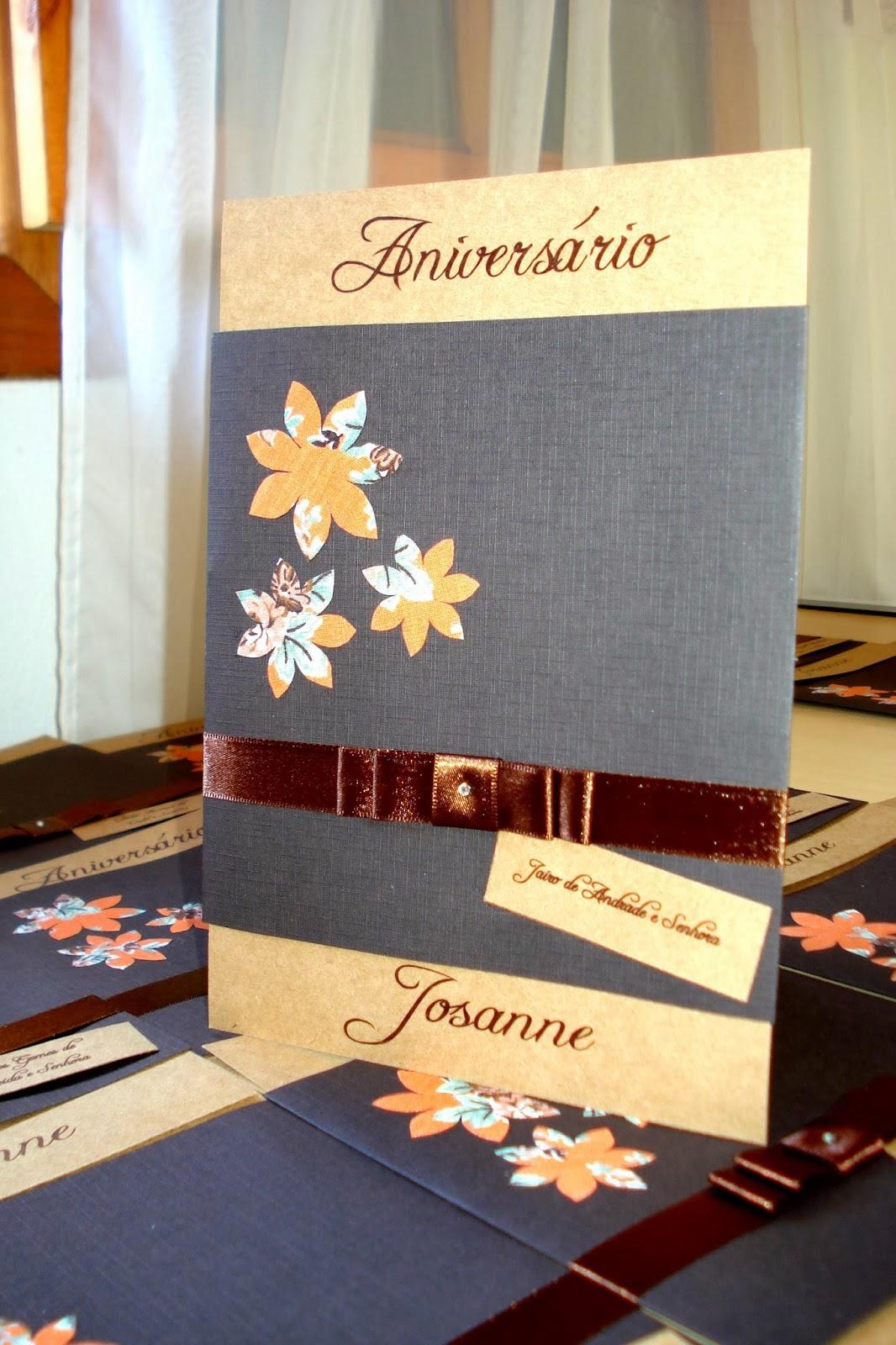 Convite de aniversário rústico com aplicação de tecido