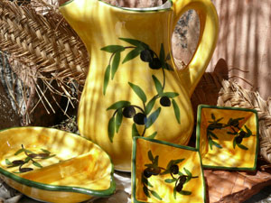 olive painted spanish ceramics