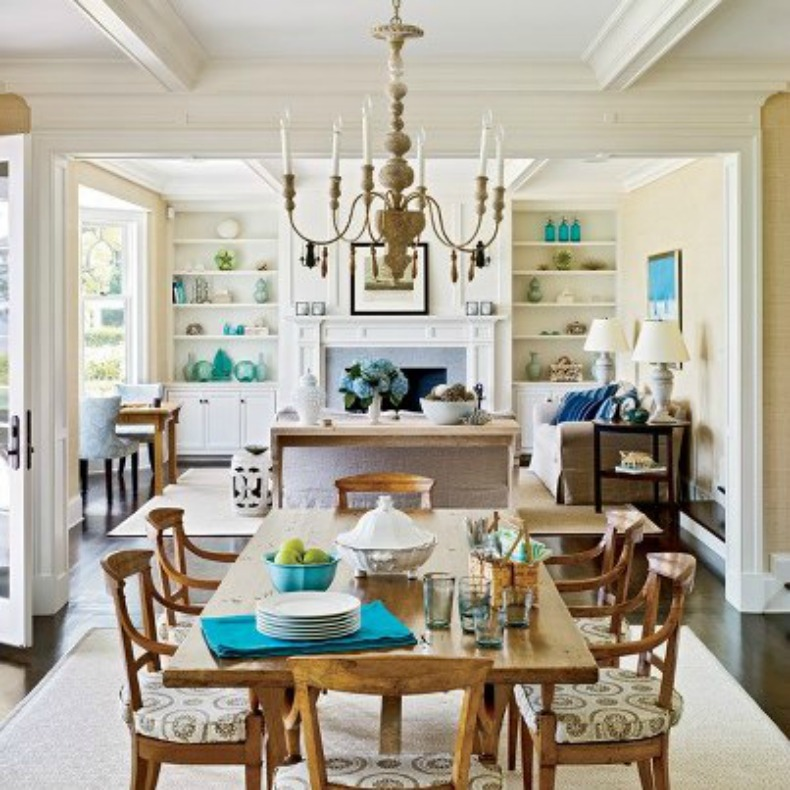 seaside chic, coastal, seashell chandelier, dining room