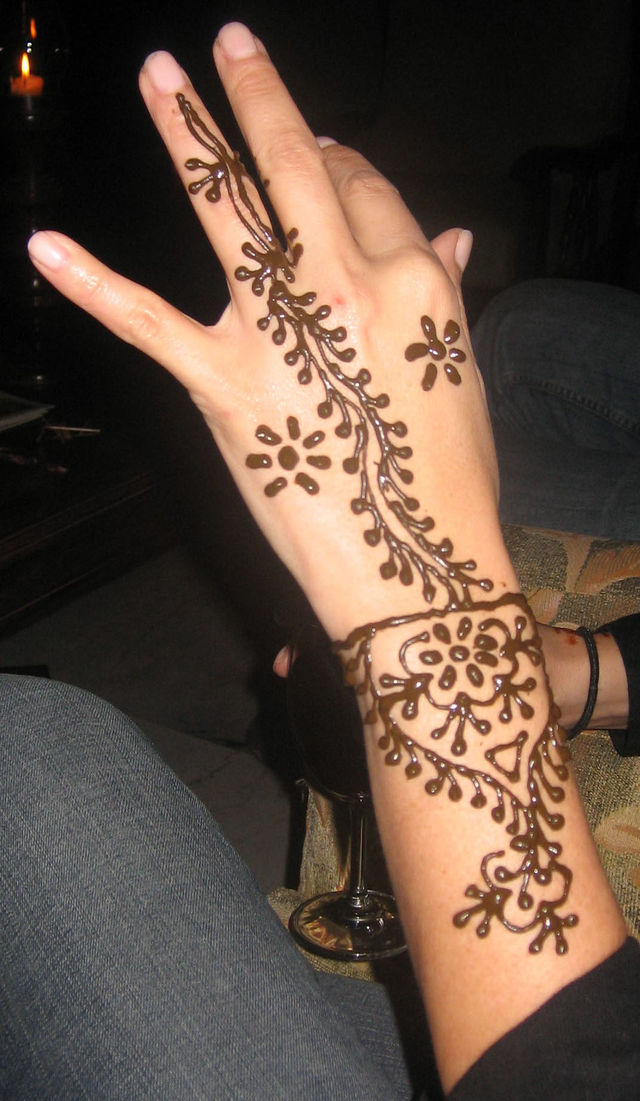 Beautiful ladies in traditional outfits with mehndi designs impressions on