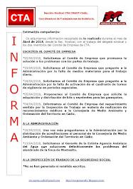 C.T.A. INFORMA, LO REALIZADO EN ABRIL DE 2018