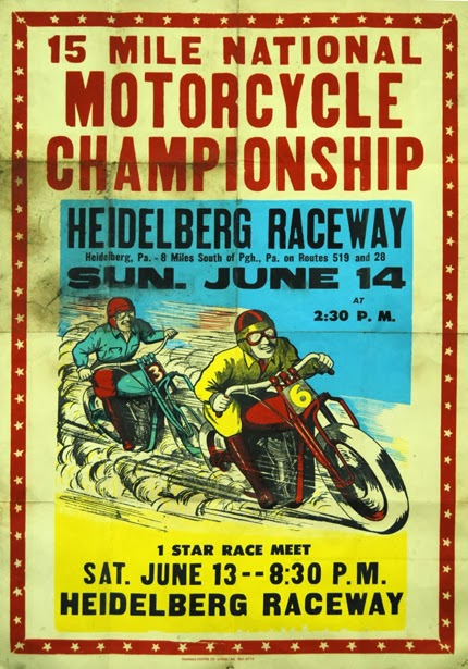 classic posters, free download, free printable, graphic design, motorcycle, printables, retro prints, sports, vintage, vintage posters, vintage printables, advertising, 15 Mile National Motorcycle Championship, Heidelberg Raceway - Vintage Motorcycle Sports Advertising Poster