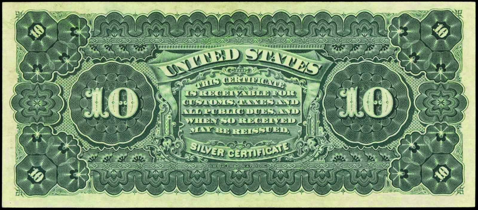 American money 10 Silver Certificate 1886