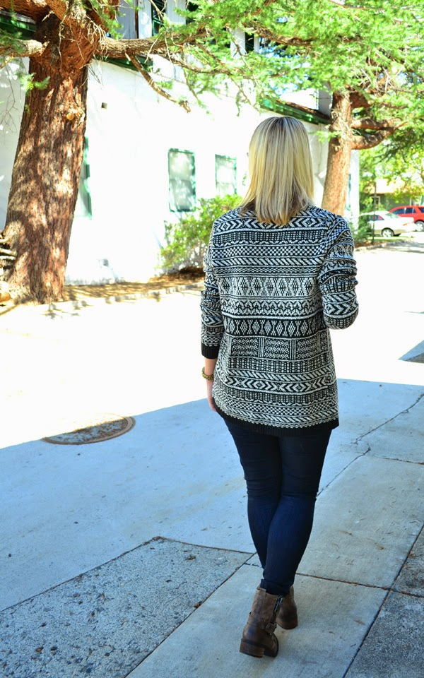 tribal sweater, skinny jeans, boots, fashion blogger, style blog