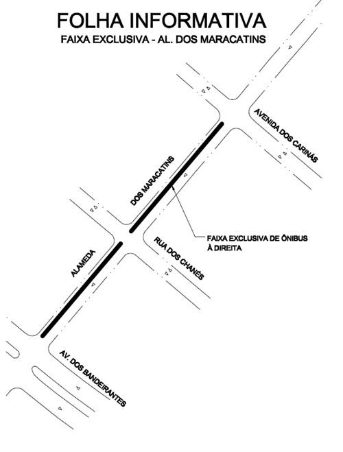 Faixa exclusiva à direita para ônibus na Alameda dos Maracatins