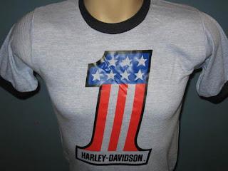 vintage 80s RAYON TRI-BLEND HARLEY DAVIDSON MOTORCYCLE RINGER T-Shirt XS biker