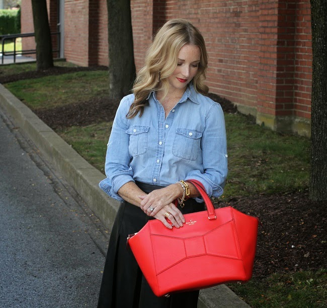 jcrew chambray shirt, halogen leather skirt, kate spade beau bag