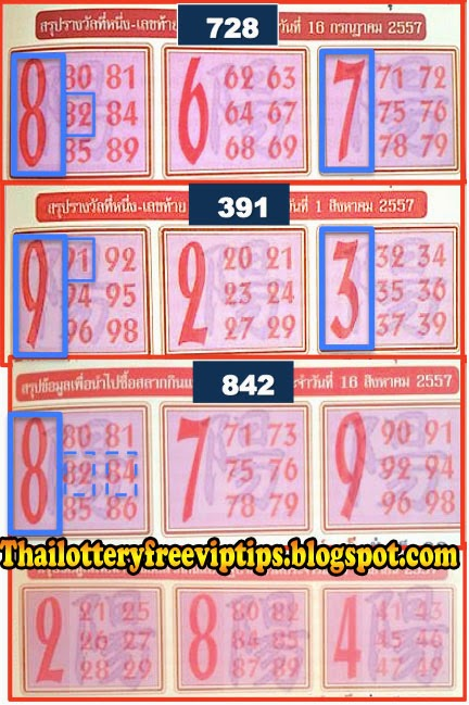 Thai Lottery touch tip paper 01-09-2014