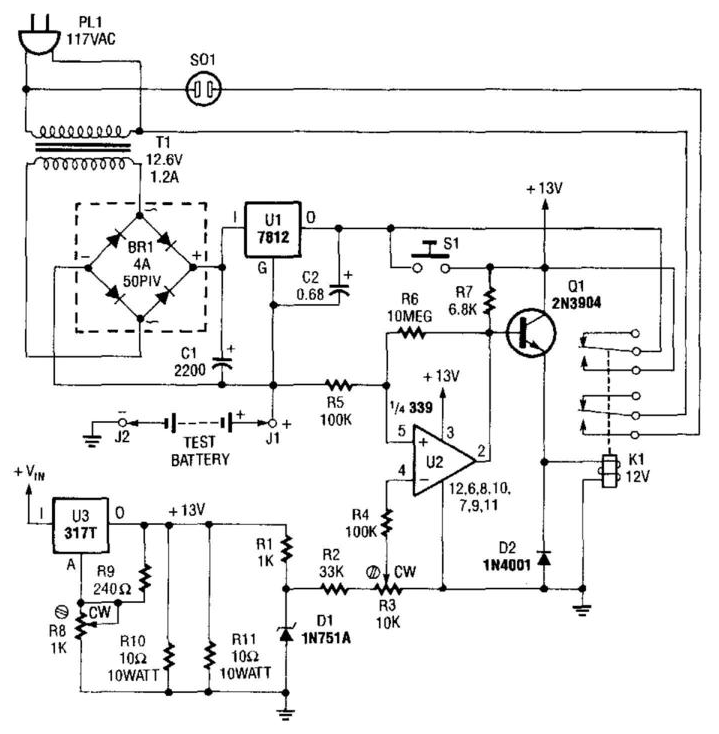 Battery Tester Schematic : Nicad battery tester circuit diagram circuits lab