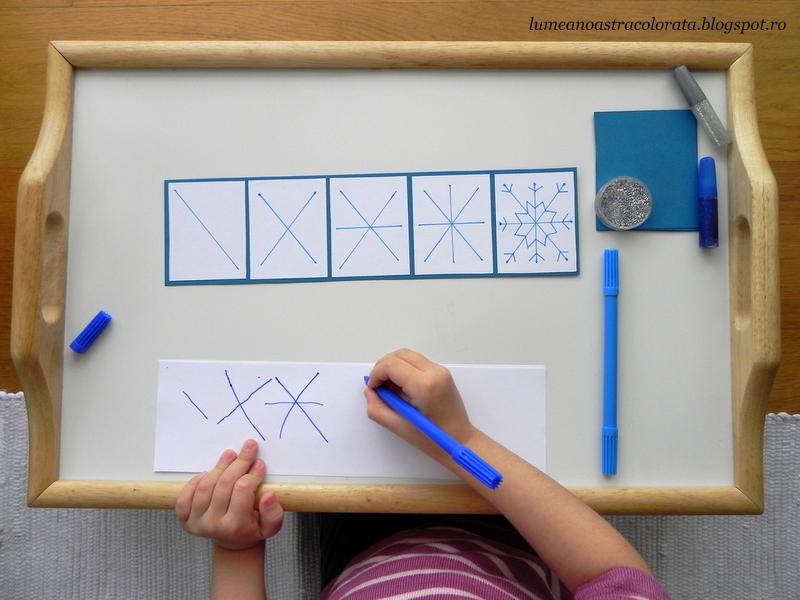 facem un fulg de nea în stil Montessori