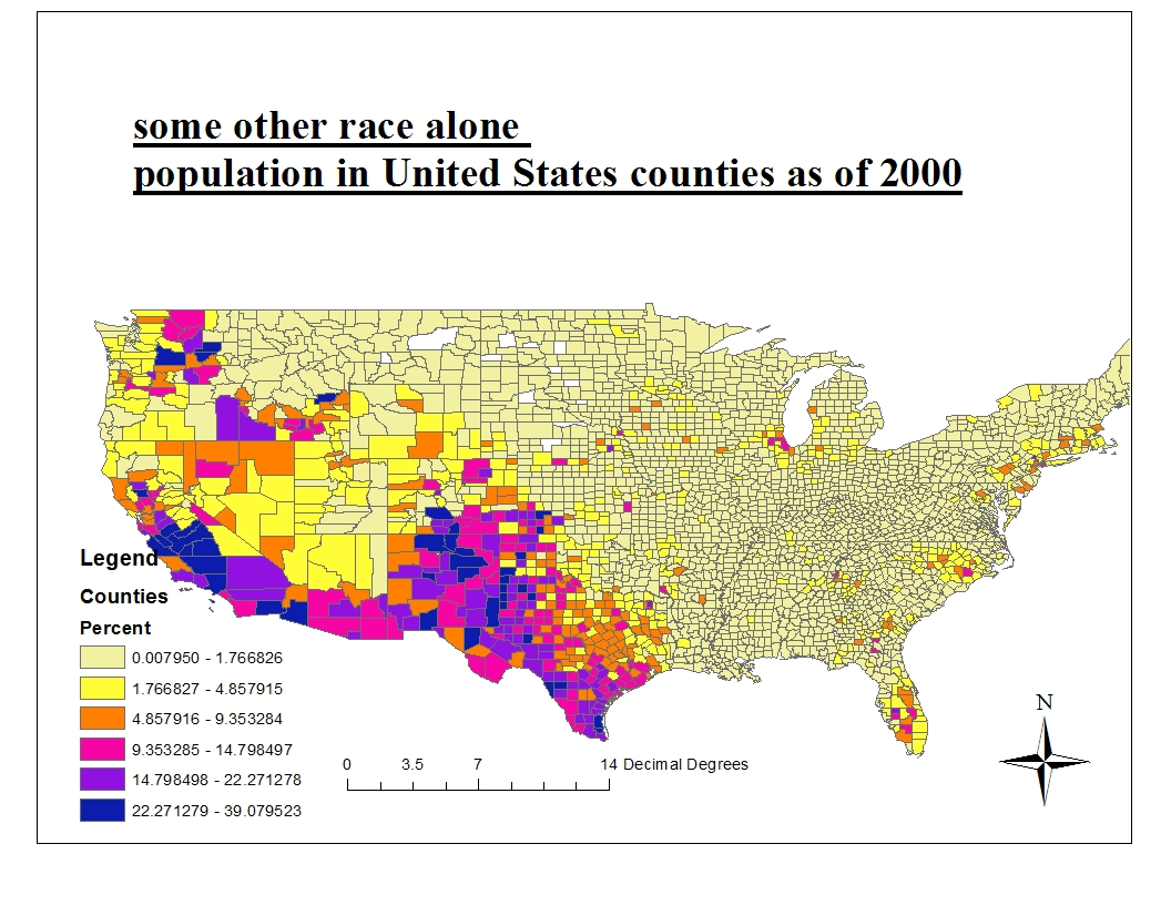 the third map displays the distribution of some other race in the united states this may include the hispanic people darker colors indicate higher density
