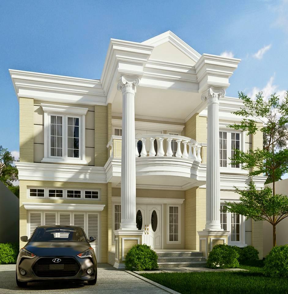 desain rumah klasik modern 2 lantai plus denah dan tampak