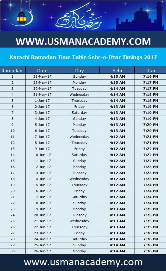 Karachi Ramadan Timings 2018 Calendar Karachi Ramazan Sehar-o ...
