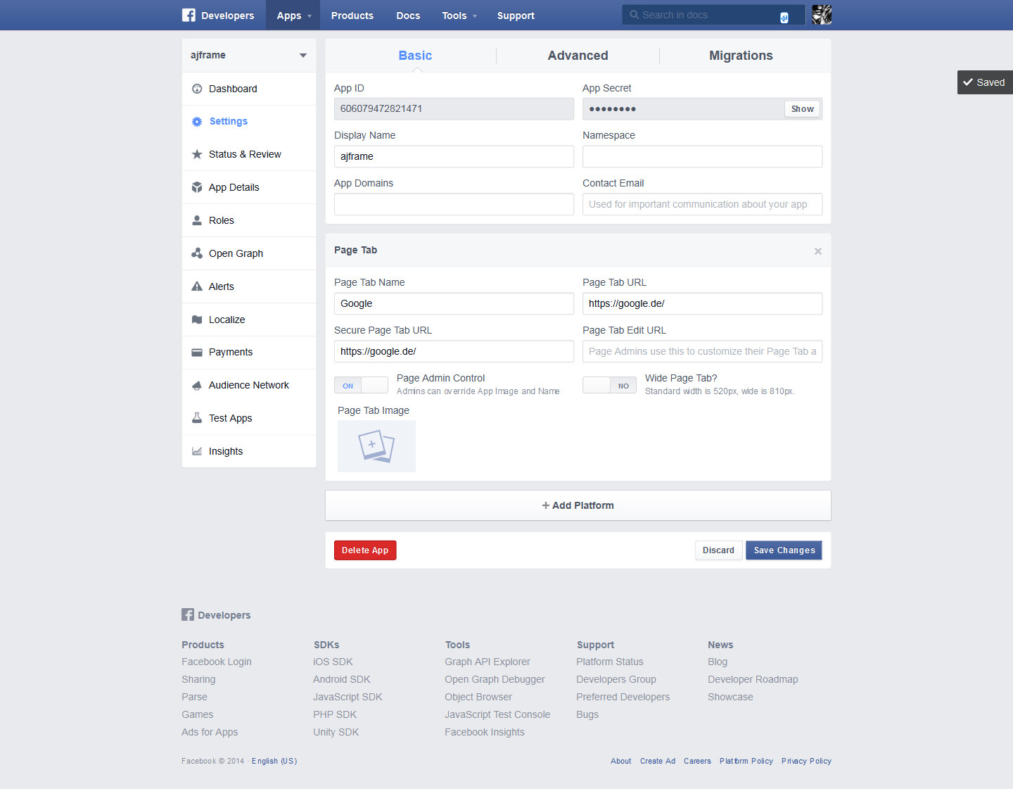 how to add an iframe to a Facebook page