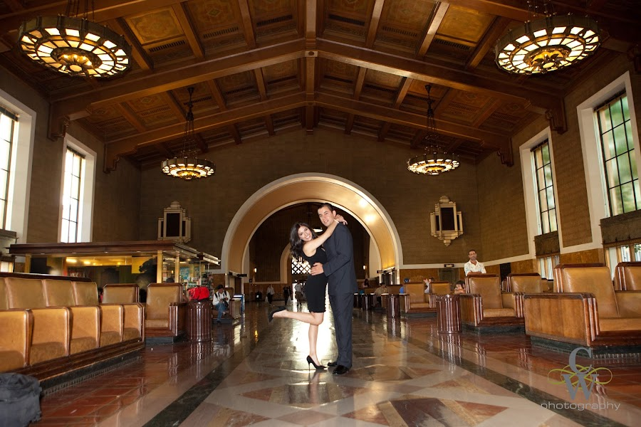 engagement portrait, Union Station los angeles