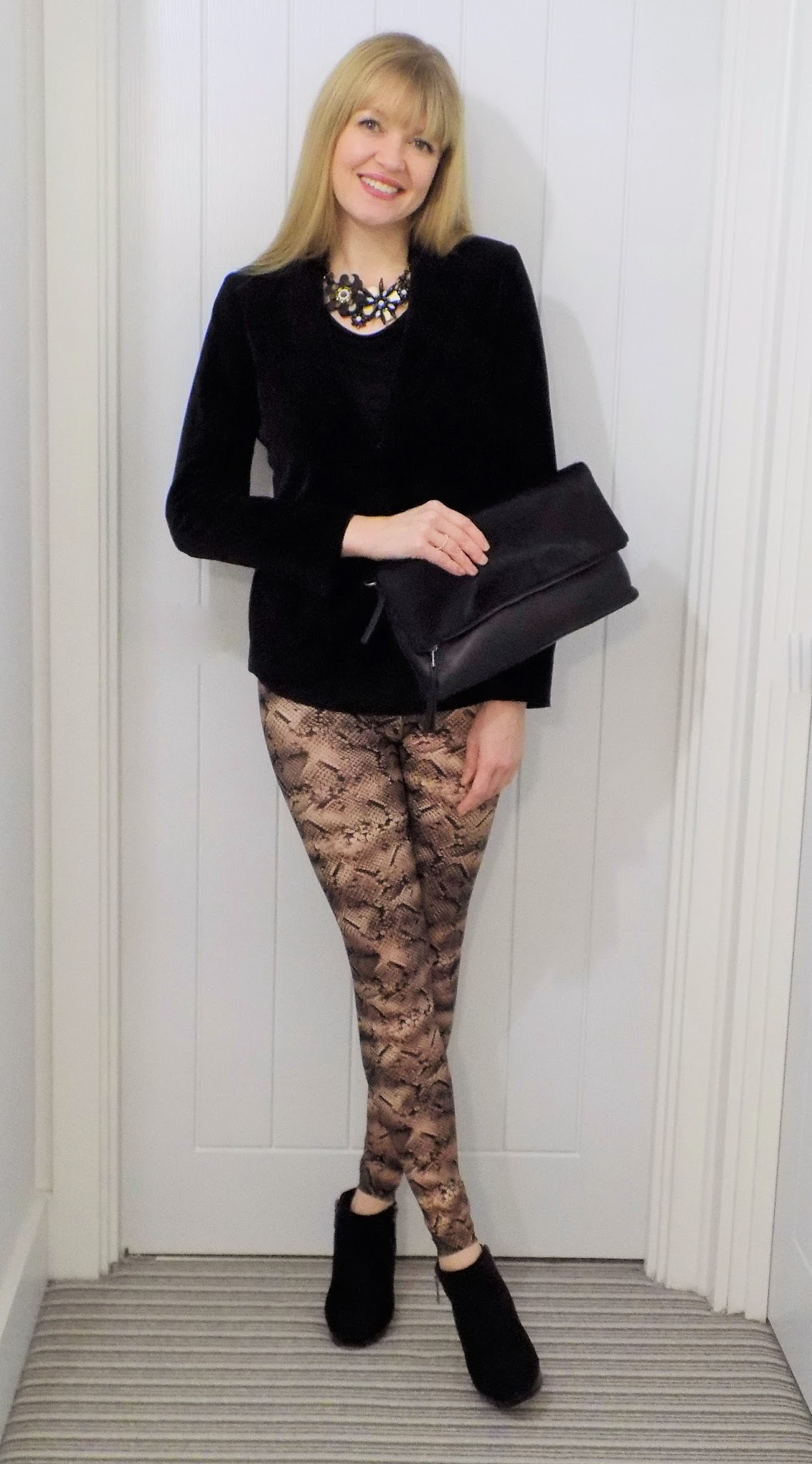 Outfit Snake Print Leggings With Ankle Boots and a Velvet Jacket - What Lizzy Loves