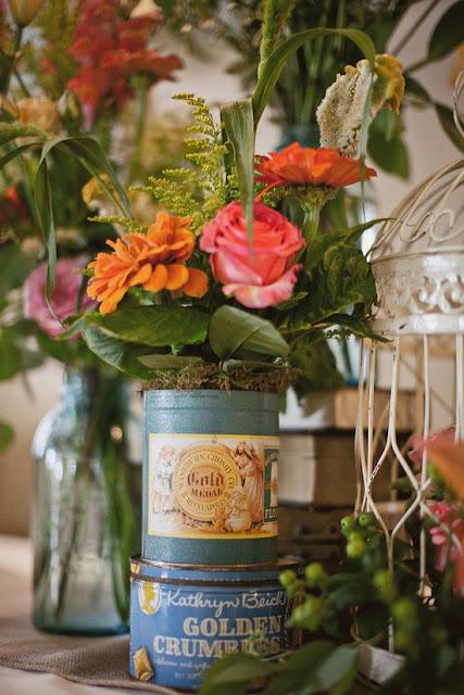 vaso flores lata de chá