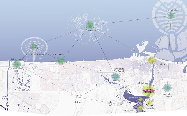 Map showing new museum and other Dubai landmarks and their distances