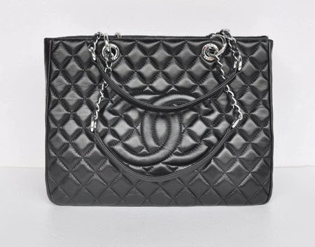 56f1596b9 Bolsa Chanel Grand Shopping Tote Lambskin Black/Silver | Shopping ...