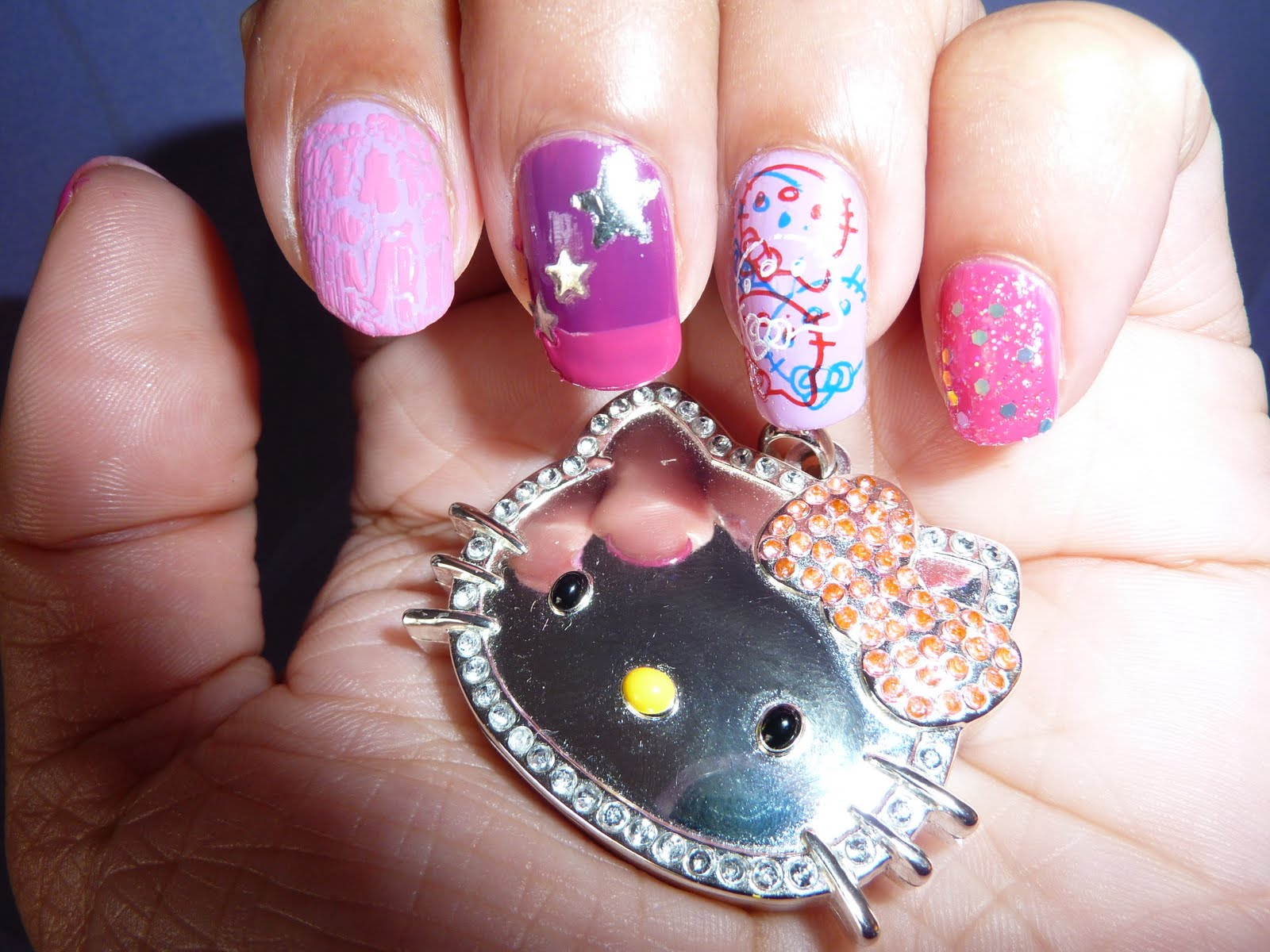 The Astounding Easy hello kitty nail designs glitter Picture
