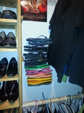 Organize flip flops with an old CD rack :: OrganizingMadeFun.com