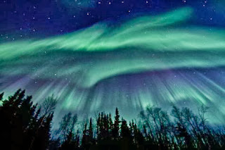 Photograph of the Northern Lights, Aurora Borealis, in Fairbanks Alaska