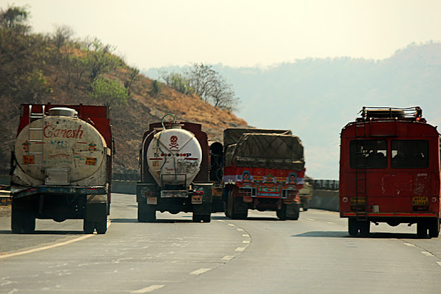trucks blocking the expressway